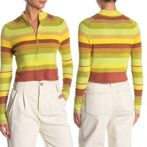 Free People Stripe Mock Neck Cropped Sweater